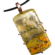 Bumble Bee Jasper Copper Pendant Necklace
