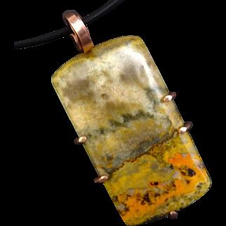 Bumble Bee Jasper Copper Pendant Necklace