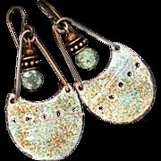 Rustic Aqua And Brown Enamel Earrings