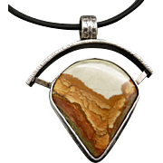 Rocky Butte Picture Jasper Sterling Silver Pendant Necklace