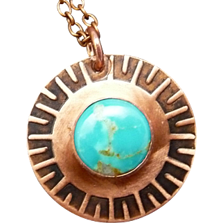 Turquoise Hand Stamped Copper Pendant Necklace
