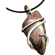 Sterling Silver Wrapped Labradorite Pendant Necklace