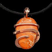 Orange Impression Jasper Copper Wrapped Pendant Necklace
