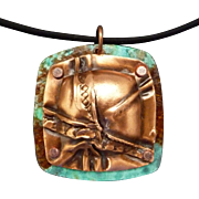 Fold Formed Copper Patina Necklace