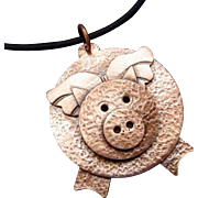 When Pigs Fly Copper Pendant Necklace