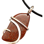 Sterling Silver Wrapped Dino Bone Pendant Necklace