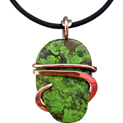 Green Turquoise Copper Wrapped Necklace