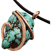 Turquoise Magnesite Nugget Copper Wrapped Pendant Necklace
