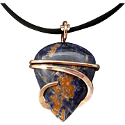 Blue And Orange Sodolite Copper Wrapped Necklace