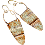 Rustic Green And Brown Copper Enamel Earrings