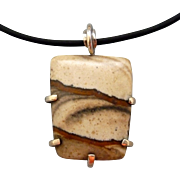 Desert Jasper Sterling Silver Wrapped Necklace