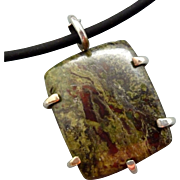 Green Dragon Blood Jasper Sterling Silver Pendant Necklace