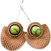 Copper And Mohave Green Turquoise Handmade Earrings