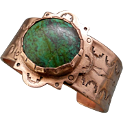 Chrysocolla Hand Stamped Copper Bracelet