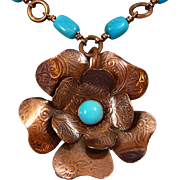 Copper And Turquoise Flower Necklace