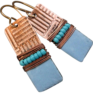 Textured Copper And Blue Enamel Wrapped Earrings