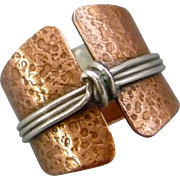 Rustic Copper And Sterling Silver Knot Ring