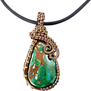 Copper Woven Chrysocolla Pendant Necklace