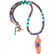 Lapis And Turquoise Copper Feather Necklace
