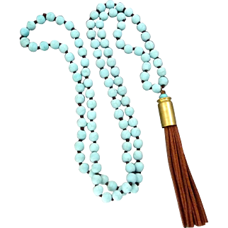 Matte Finished Turquoise Magnesite Beaded Bullet Shell Necklace With Brown Suede Tassel