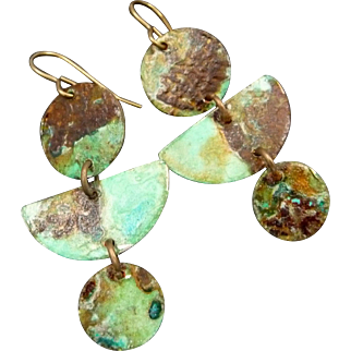 Organic Patina Copper Dangle Earrings