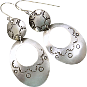 Hand stamped Southwestern Sterling Silver Earrings