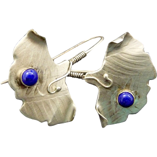 Silver And Lapis Ginkgo Stick Earrings