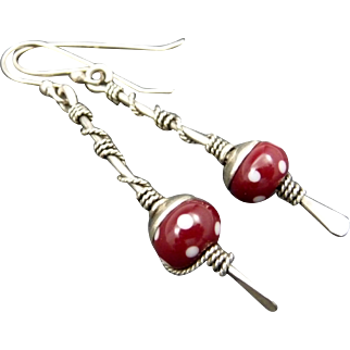 Red And White Polka Dot Sterling Silver Stick Earrings