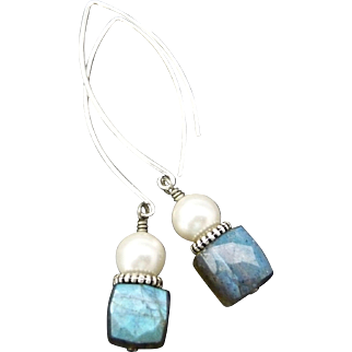 Cubed Labradorite And Swarovski Pearl Sterling Silver Earrings