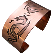 Etched Copper Double Dragon Cuff Bracelet