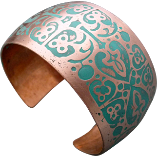 Etched Copper Synclastic Copper Cuff Bracelet With Turquoise Patina