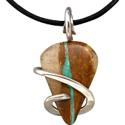 Boulder Turquoise Sterling Silver Wire Wrapped Pendant Necklace