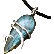 Sterling Silver Labradorite Wrapped Pendant Necklace