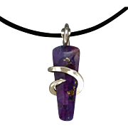 Kingman Purple Turquoise Sterling Silver Wrapped Pendant Necklace