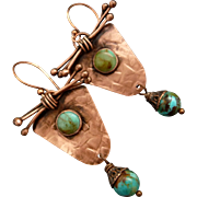 Rustic Copper Textured Earrings With An Turquoise Dangle