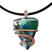 Azurite Copper Wrapped Pendant Necklace - Red Tag Sale Item