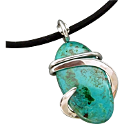 Chrysocolla Sterling Silver Wrapped Pendant Necklace