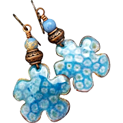 Rustic Blue Enamel Flower Earrings