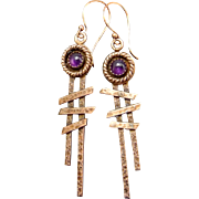 Amethyst Copper Stick Earrings