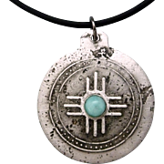 Rustic Silver And Copper Amazonite Relic Pendant Necklace