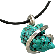 Kingman Turquoise Nugget Sterling Silver Wrap Pendant Necklace