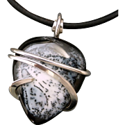 Dendrite Agate Sterling Silver Wrapped Pendant Necklace