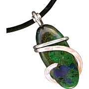 Azurite Malachite Sterling Silver Wrap Pendant Necklace