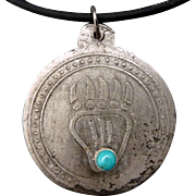 Rustic Mixed Metal Turquoise Relic Pendant Necklace
