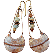 Rustic Blue And Brown Enamel Earrings