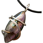 Sterling Silver Purple Labradorite Wrapped Pendant Necklace