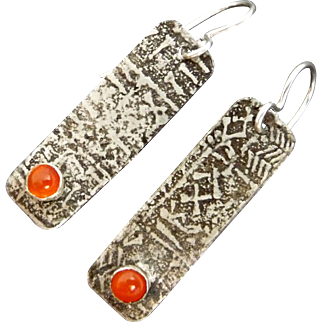 Rustic Silver And Carnelian Relic Rune Earrings