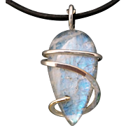 Rainbow Moonstone Sterling Silver Wrap Pendant Necklace