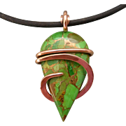 Mohave Green Bronze Turquoise Copper Wrapped Pendant Necklace
