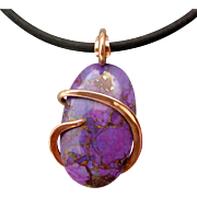 Kingman Purple Turquoise Copper Wrapped Pendant Necklace
